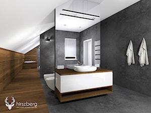 Dom w Bydgoszczy - Duża szara łazienka na poddaszu w domu jednorodzinnym jako domowe spa z oknem - zdjęcie od Hirszberg Pracownia Architektoniczna