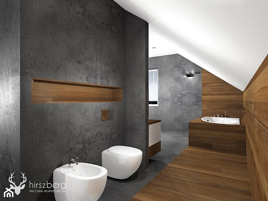 Dom w Bydgoszczy - Duża łazienka na poddaszu w domu jednorodzinnym z oknem - zdjęcie od Hirszberg Pracownia Architektoniczna