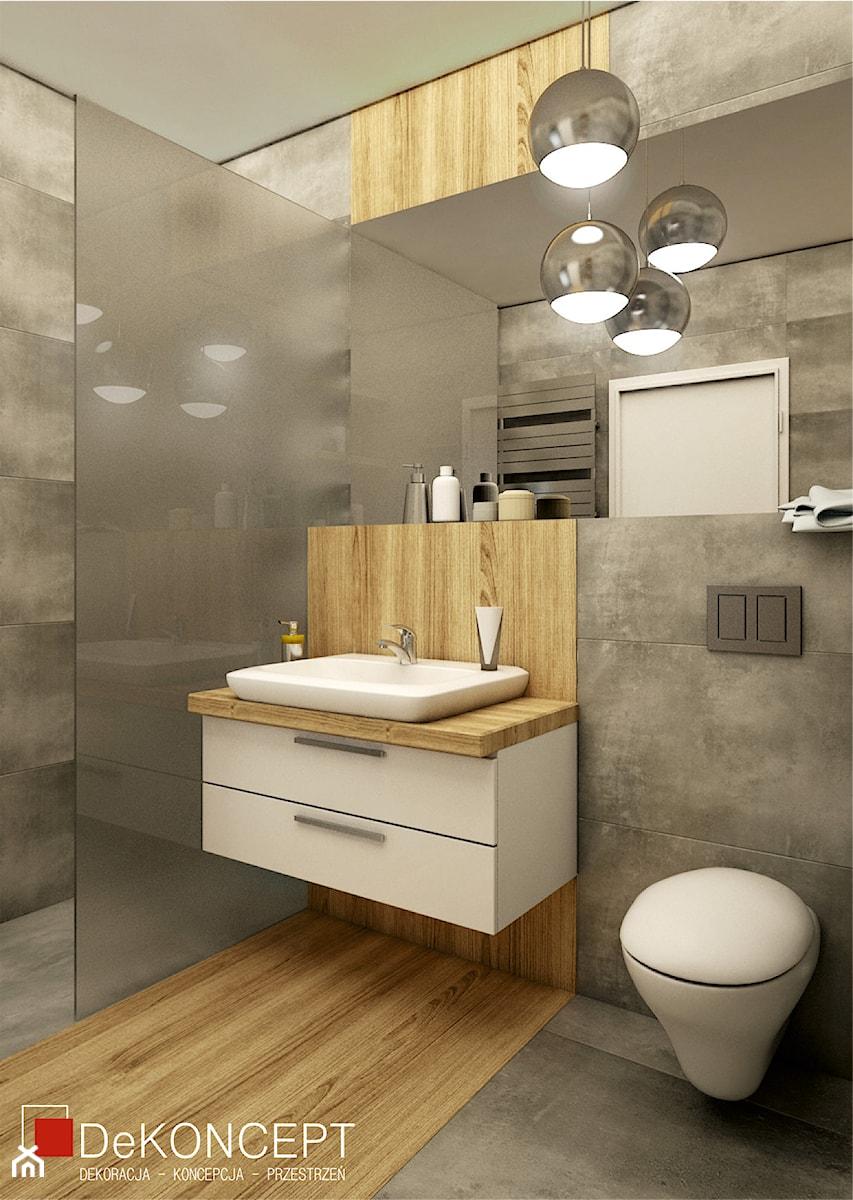 Beton Drewno średnia łazienka Bez Okna Zdjęcie Od