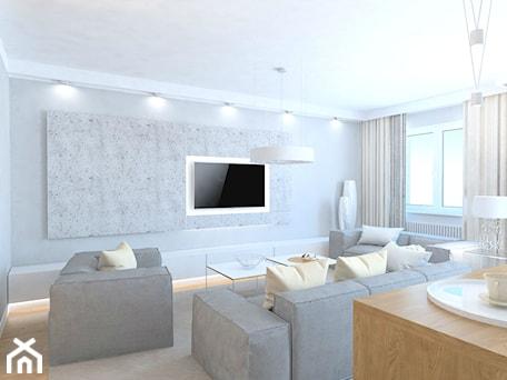 Aranżacje wnętrz - Salon: projekt mieszkania we Wrocławiu 1 - Duży szary biały salon z jadalnią, styl minimalistyczny - Dekoncept. Przeglądaj, dodawaj i zapisuj najlepsze zdjęcia, pomysły i inspiracje designerskie. W bazie mamy już prawie milion fotografii!