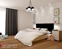 beton & drewno - Średnia beżowa sypialnia małżeńska - zdjęcie od Dekoncept - Homebook