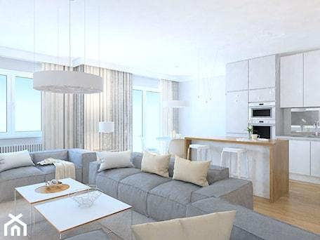 Aranżacje wnętrz - Salon: projekt mieszkania we Wrocławiu 1 - Duży biały salon z kuchnią z jadalnią, styl minimalistyczny - Dekoncept. Przeglądaj, dodawaj i zapisuj najlepsze zdjęcia, pomysły i inspiracje designerskie. W bazie mamy już prawie milion fotografii!