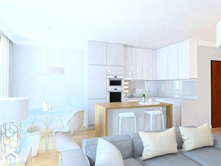 Aranżacje wnętrz - Kuchnia: projekt mieszkania we Wrocławiu 1 - Mała otwarta biała kuchnia w kształcie litery l z wyspą, styl minimalistyczny - Dekoncept. Przeglądaj, dodawaj i zapisuj najlepsze zdjęcia, pomysły i inspiracje designerskie. W bazie mamy już prawie milion fotografii!