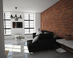 projekt loftu w Łodzi - Średni biały salon, styl industrialny - zdjęcie od Dekoncept