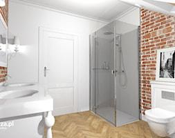 Eklektyczna Łazienka - Średnia szara łazienka na poddaszu w domu jednorodzinnym z oknem, styl eklektyczny - zdjęcie od e-wnetrza.pl