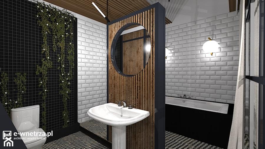 Mieszkanie w kamienicy - Przemyśl - Średnia biała czarna łazienka na poddaszu w bloku w domu jednorodzinnym bez okna, styl eklektyczny - zdjęcie od e-wnetrza.pl