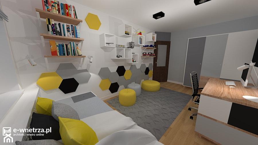 Pokój Maksa - miłośnika LEGO - Duży biały szary pokój dziecka dla chłopca dla dziewczynki dla ucznia dla nastolatka, styl nowoczesny - zdjęcie od e-wnetrza.pl