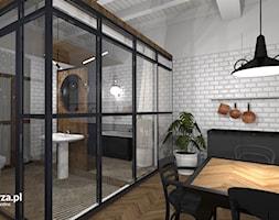 Mieszkanie w kamienicy - Przemyśl - Średnia łazienka w bloku w domu jednorodzinnym bez okna, styl eklektyczny - zdjęcie od e-wnetrza.pl