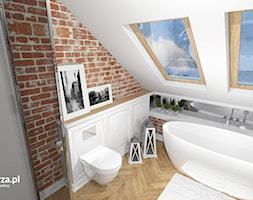 Eklektyczna Łazienka - Średnia biała łazienka na poddaszu w domu jednorodzinnym z oknem, styl eklektyczny - zdjęcie od e-wnetrza.pl