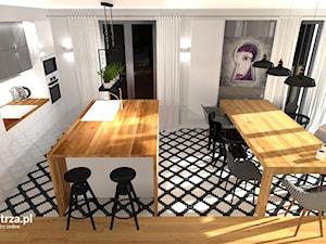 Kuchnia - nowoczesna czy klasyczna? - Średnia otwarta biała kuchnia jednorzędowa z wyspą z oknem, styl nowoczesny - zdjęcie od e-wnetrza.pl