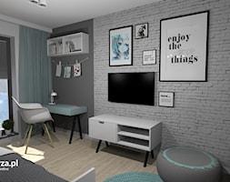 Pokój Julki kochającej świat MANGI - Średni szary pokój dziecka dla chłopca dla ucznia dla nastolatka, styl skandynawski - zdjęcie od e-wnetrza.pl