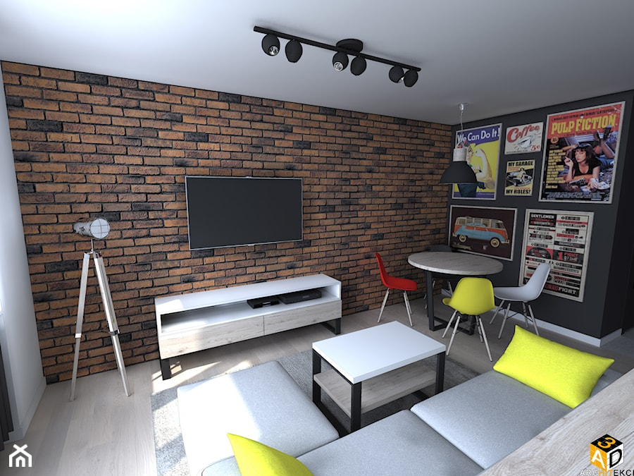 mieszkanie 55m2 łomża - Średni biały czarny salon z jadalnią, styl industrialny - zdjęcie od Interior Design A3D Architekci Krzysztof Gruszfeld