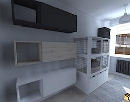 mieszkanie 55m2 łomża - Mały biały pokój dziecka dla chłopca dla dziewczynki dla malucha, styl industrialny - zdjęcie od Interior Design A3D Architekci Krzysztof Gruszfeld