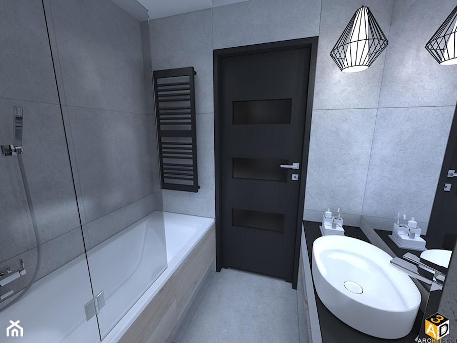 mieszkanie 55m2 łomża - Mała szara łazienka na poddaszu w bloku w domu jednorodzinnym bez okna, styl nowoczesny - zdjęcie od Interior Design A3D Architekci Krzysztof Gruszfeld