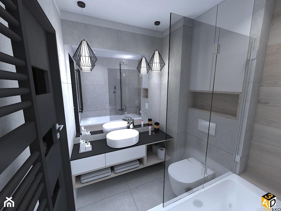 mieszkanie 55m2 łomża - Mała łazienka w bloku w domu jednorodzinnym bez okna, styl industrialny - zdjęcie od Interior Design A3D Architekci Krzysztof Gruszfeld