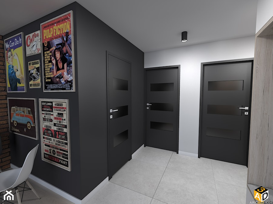 mieszkanie 55m2 łomża - Średni biały czarny hol / przedpokój, styl minimalistyczny - zdjęcie od Interior Design A3D Architekci Krzysztof Gruszfeld