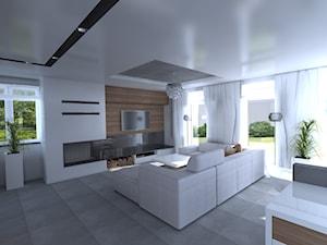 DOM parterowy - Średni biały salon, styl nowoczesny - zdjęcie od Interior Design A3D Architekci Krzysztof Gruszfeld