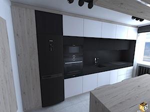 mieszkanie 55m2 łomża - Średnia otwarta biała kuchnia jednorzędowa z wyspą z oknem, styl minimalistyczny - zdjęcie od Interior Design A3D Architekci Krzysztof Gruszfeld