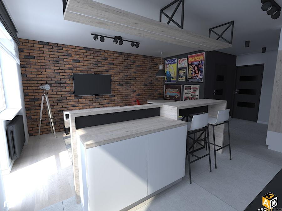 mieszkanie 55m2 łomża - Średnia otwarta biała kuchnia dwurzędowa w aneksie z wyspą z oknem, styl industrialny - zdjęcie od Interior Design A3D Architekci Krzysztof Gruszfeld