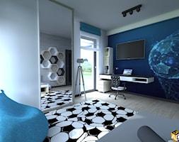 DOM parterowy 160m2 - Średni szary niebieski pokój dziecka dla chłopca dla dziewczynki dla ucznia dla nastolatka - zdjęcie od Interior Design A3D Architekci Krzysztof Gruszfeld
