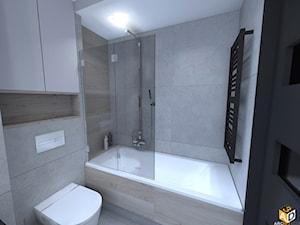 mieszkanie 55m2 łomża - Mała łazienka w bloku w domu jednorodzinnym bez okna, styl minimalistyczny - zdjęcie od Interior Design A3D Architekci Krzysztof Gruszfeld