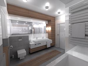 DOM parterowy - Średnia beżowa szara łazienka w bloku bez okna, styl nowoczesny - zdjęcie od Interior Design A3D Architekci Krzysztof Gruszfeld