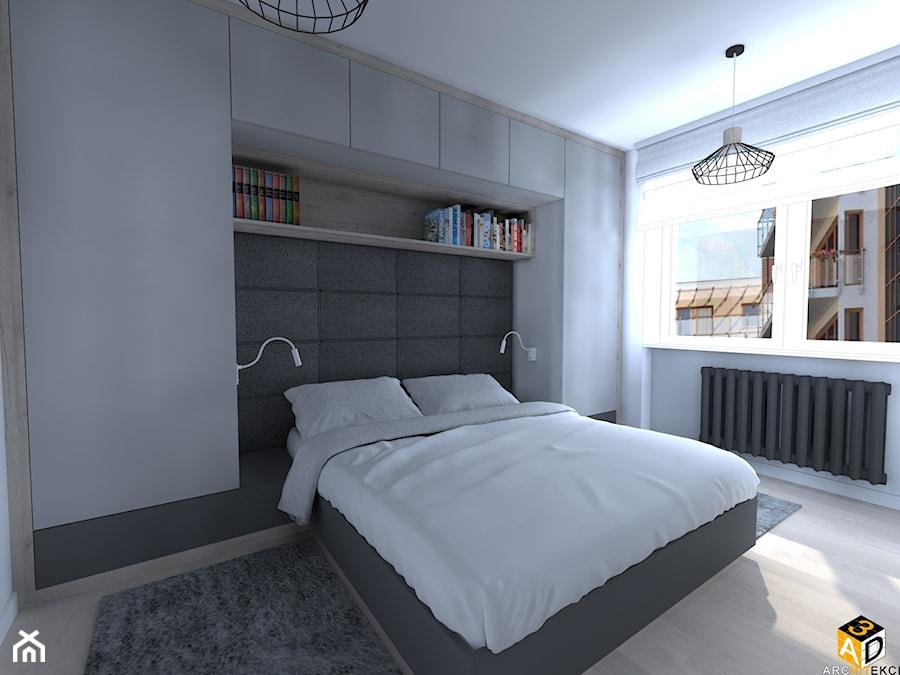 mieszkanie 55m2 łomża - Średnia biała sypialnia małżeńska, styl minimalistyczny - zdjęcie od Interior Design A3D Architekci Krzysztof Gruszfeld