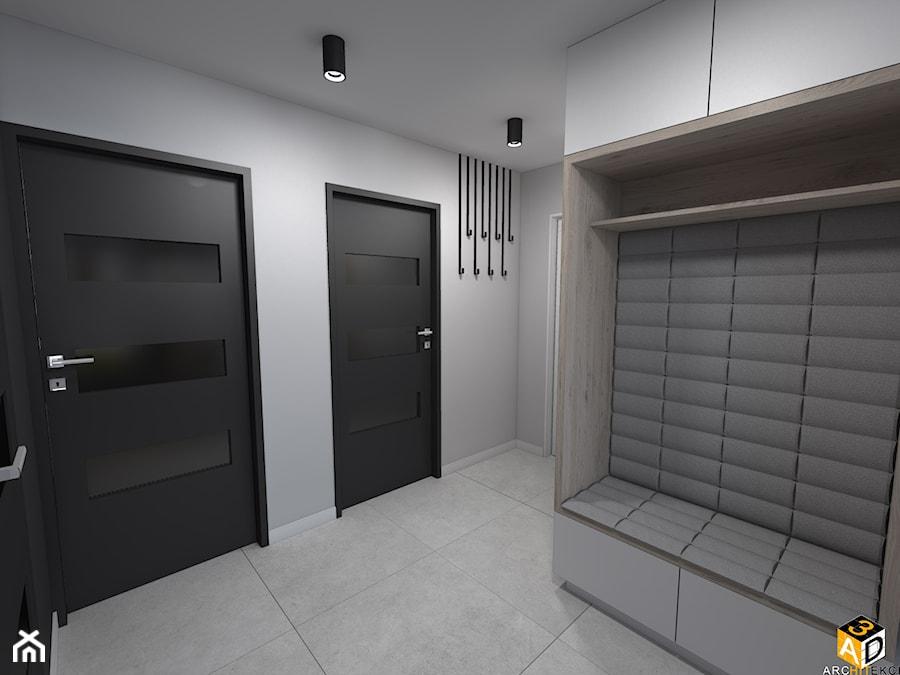 mieszkanie 55m2 łomża - Duży biały szary hol / przedpokój, styl minimalistyczny - zdjęcie od Interior Design A3D Architekci Krzysztof Gruszfeld