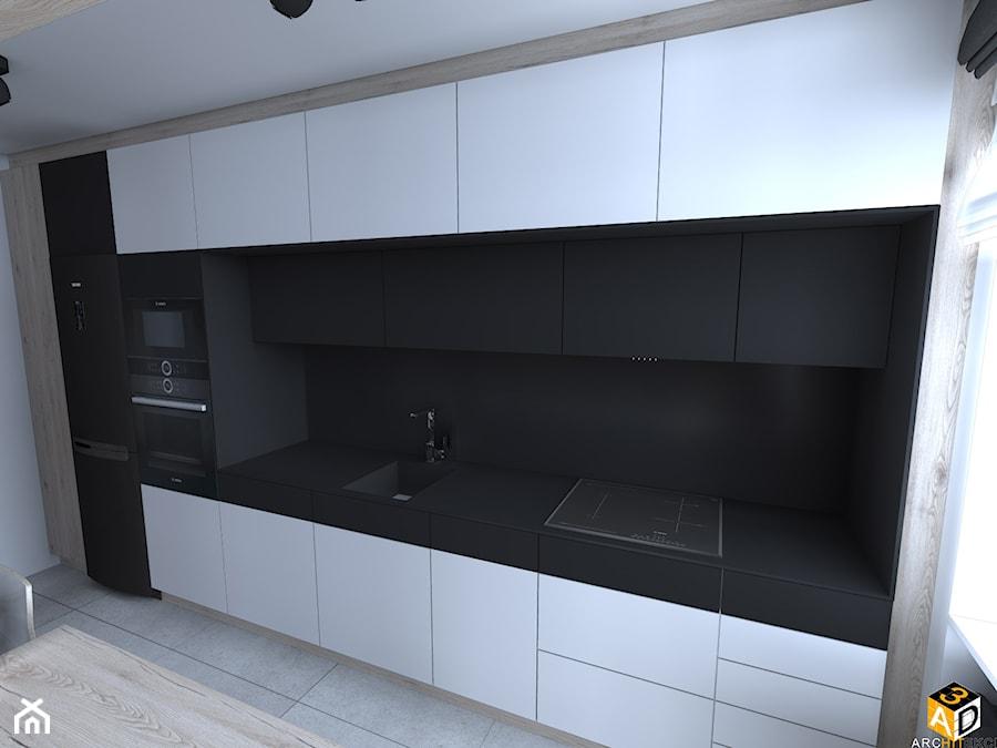 mieszkanie 55m2 łomża - Średnia otwarta szara czarna kuchnia jednorzędowa z oknem, styl minimalistyczny - zdjęcie od Interior Design A3D Architekci Krzysztof Gruszfeld