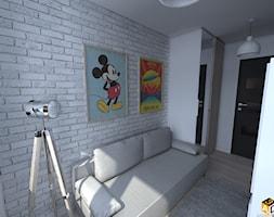 mieszkanie 55m2 łomża - Mały szary pokój dziecka dla chłopca dla dziewczynki dla nastolatka, styl minimalistyczny - zdjęcie od Interior Design A3D Architekci Krzysztof Gruszfeld