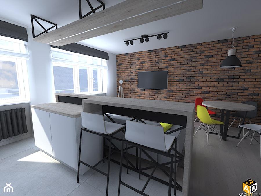 mieszkanie 55m2 łomża - Średnia otwarta biała kuchnia jednorzędowa w aneksie z oknem, styl industrialny - zdjęcie od Interior Design A3D Architekci Krzysztof Gruszfeld
