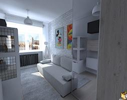 mieszkanie 55m2 łomża - Mały biały szary pokój dziecka dla chłopca dla dziewczynki dla nastolatka, styl industrialny - zdjęcie od Interior Design A3D Architekci Krzysztof Gruszfeld