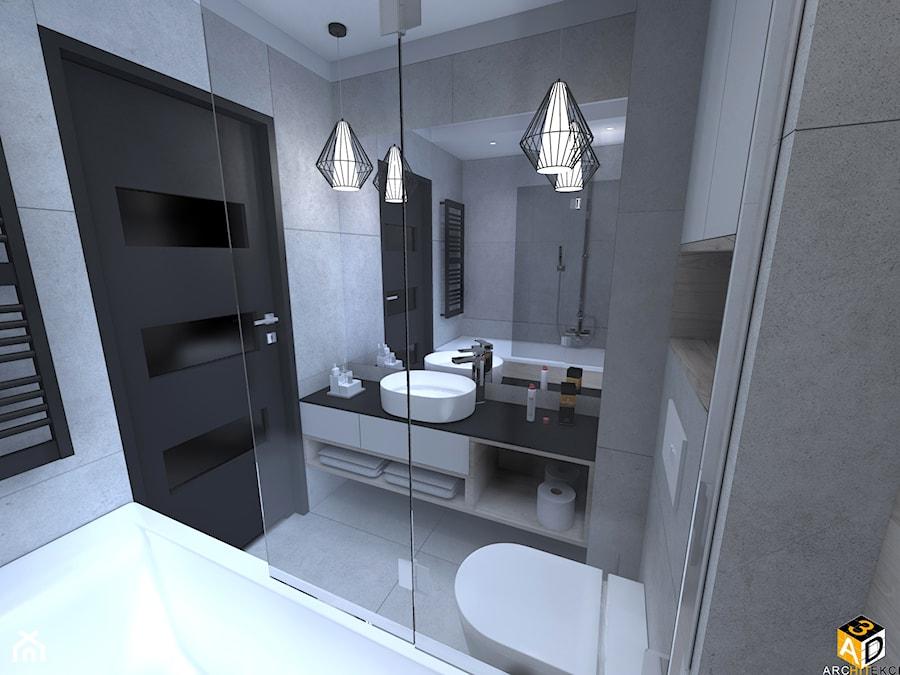 mieszkanie 55m2 łomża - Mała łazienka w bloku w domu jednorodzinnym bez okna, styl nowoczesny - zdjęcie od Interior Design A3D Architekci Krzysztof Gruszfeld