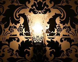 łazienka / dom jednorodzinny / Starowa Góra - Mała czarna łazienka na poddaszu w bloku w domu jednorodzinnym bez okna, styl eklektyczny - zdjęcie od Awer Design