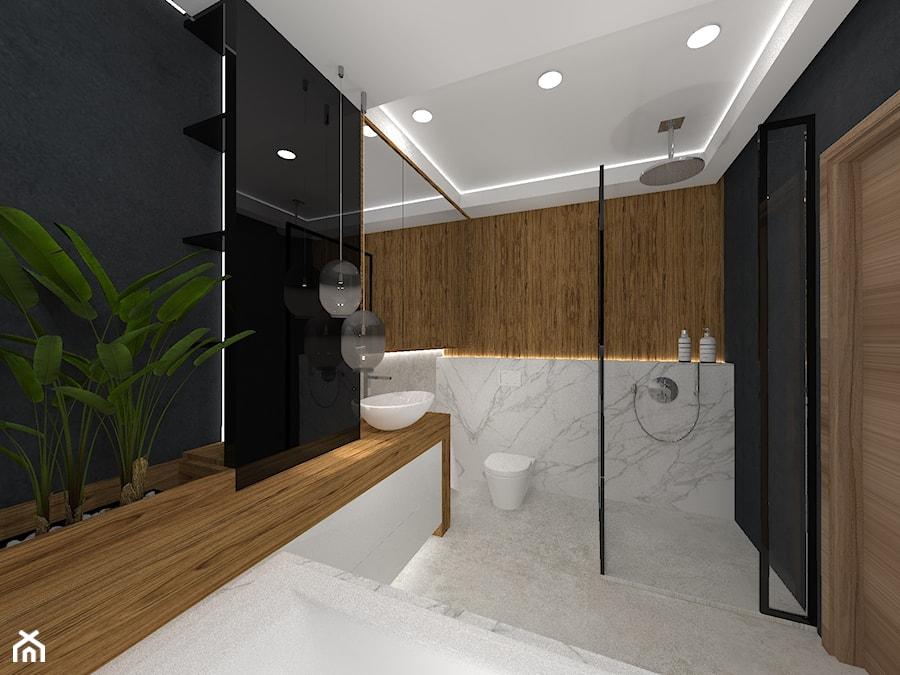 Łazienka - czerń, drewno i marmur - Średnia łazienka w bloku w domu jednorodzinnym bez okna, styl nowoczesny - zdjęcie od Ano Studio