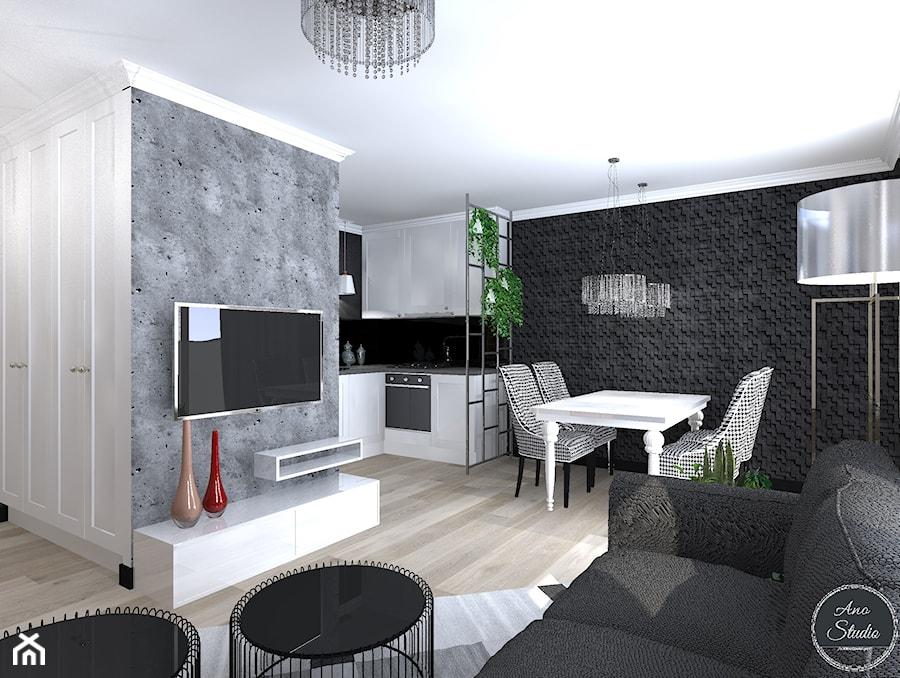 Salon Z Aneksem Kuchennym I Jadalnią W Bloku Salon Styl Glamour