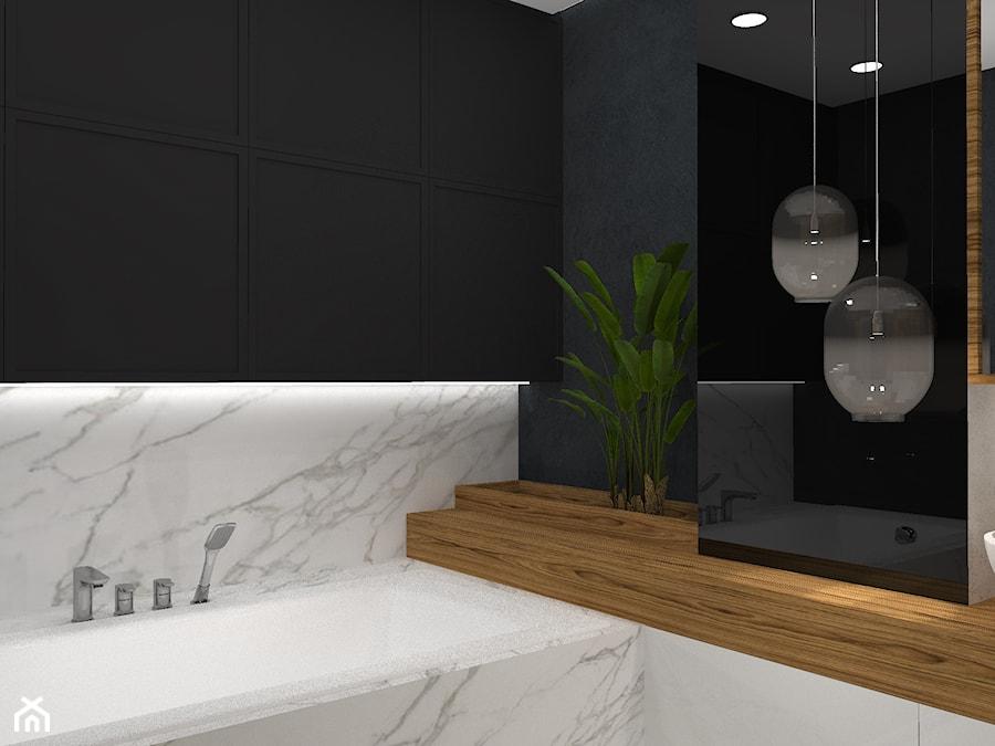 Łazienka - czerń, drewno i marmur - Mała biała czarna łazienka na poddaszu w bloku w domu jednorodzinnym bez okna, styl nowoczesny - zdjęcie od Ano Studio