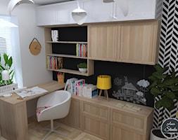 Pokój dla dziewczynki z charakterem - Mały biały czarny pokój dziecka dla chłopca dla dziewczynki dla ucznia dla malucha dla nastolatka, styl nowoczesny - zdjęcie od Ano Studio
