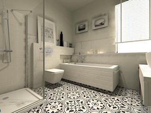 Łazienka skandynawska - Średnia biała łazienka w bloku w domu jednorodzinnym z oknem, styl skandynawski - zdjęcie od MTE Design Maria Tymoszuk
