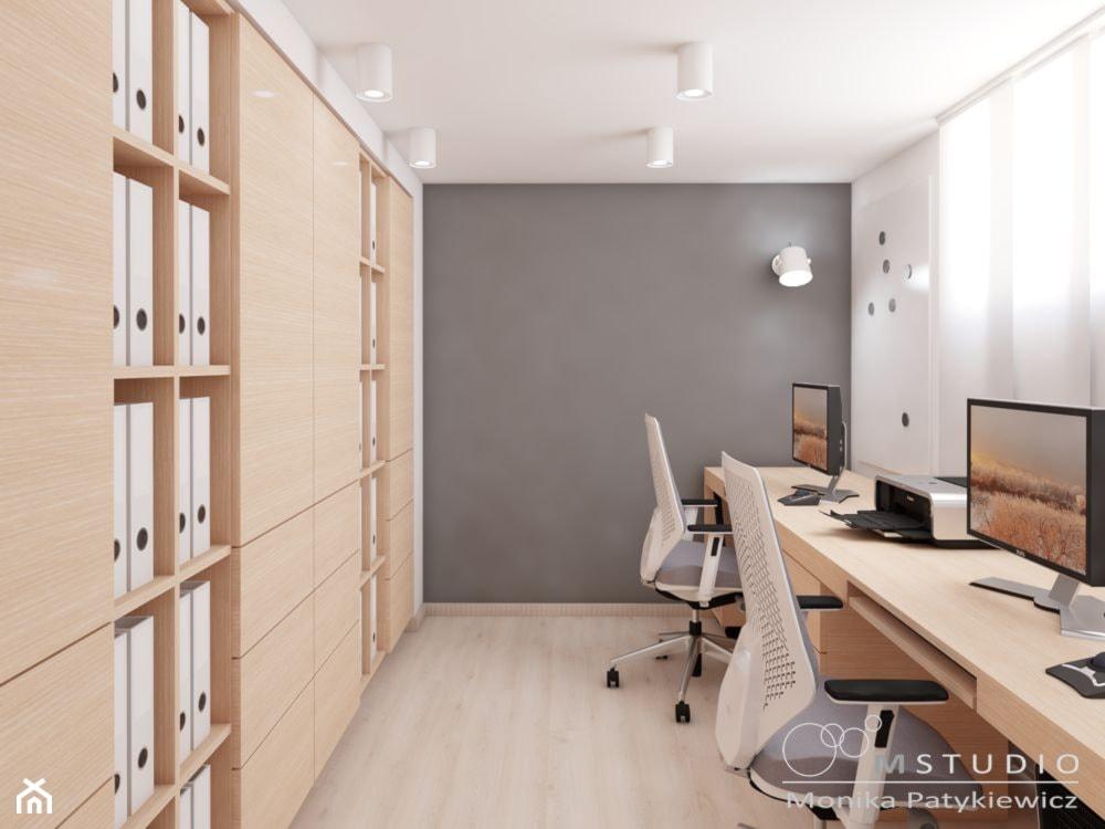 Małe szare białe biuro pracownia, styl nowoczesny - zdjęcie od MONIKA PATYKIEWICZ mSTUDIO - Homebook