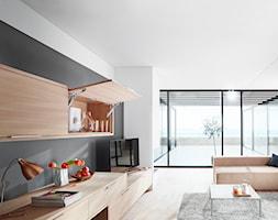 Szafki górne z podnośnikami zamiast drzwiczek - Salon, styl minimalistyczny - zdjęcie od Blum - Homebook