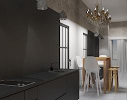 Mieszkanie do wynajęcia - Mała otwarta biała szara jadalnia w kuchni, styl eklektyczny - zdjęcie od Agata Biały Architekt