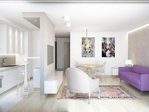 Apartament Kraków - Średni biały beżowy salon z kuchnią z jadalnią, styl glamour - zdjęcie od Agata Biały Architekt