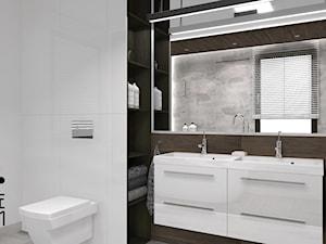 Projekt łazienki w domu jednorodzinnym w Niemczech wersja 1 - Mała biała łazienka na poddaszu w bloku w domu jednorodzinnym z oknem, styl nowoczesny - zdjęcie od KP Pure Form