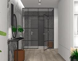 Projekt domu z grafitową cegłą_Katowice - Średni biały szary hol / przedpokój, styl nowoczesny - zdjęcie od KP Pure Form