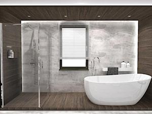 Projekt łazienki w domu jednorodzinnym w Niemczech wersja 1 - Mała szara łazienka na poddaszu w bloku w domu jednorodzinnym z oknem, styl nowoczesny - zdjęcie od KP Pure Form
