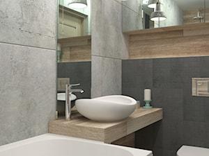 Sposób na małą łazienkę - Mała czarna brązowa szara łazienka, styl skandynawski - zdjęcie od LUDWEE Pracownia Architektury Wnętrz Ewa Jasionowska