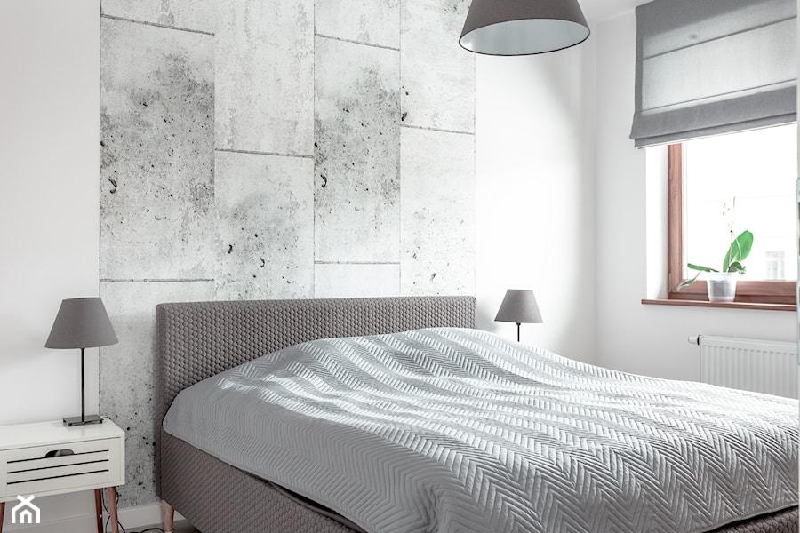 Realizacja wnętrza domu w Zalewie - Średnia biała szara sypialnia, styl nowoczesny - zdjęcie od Wnętrzowe Love