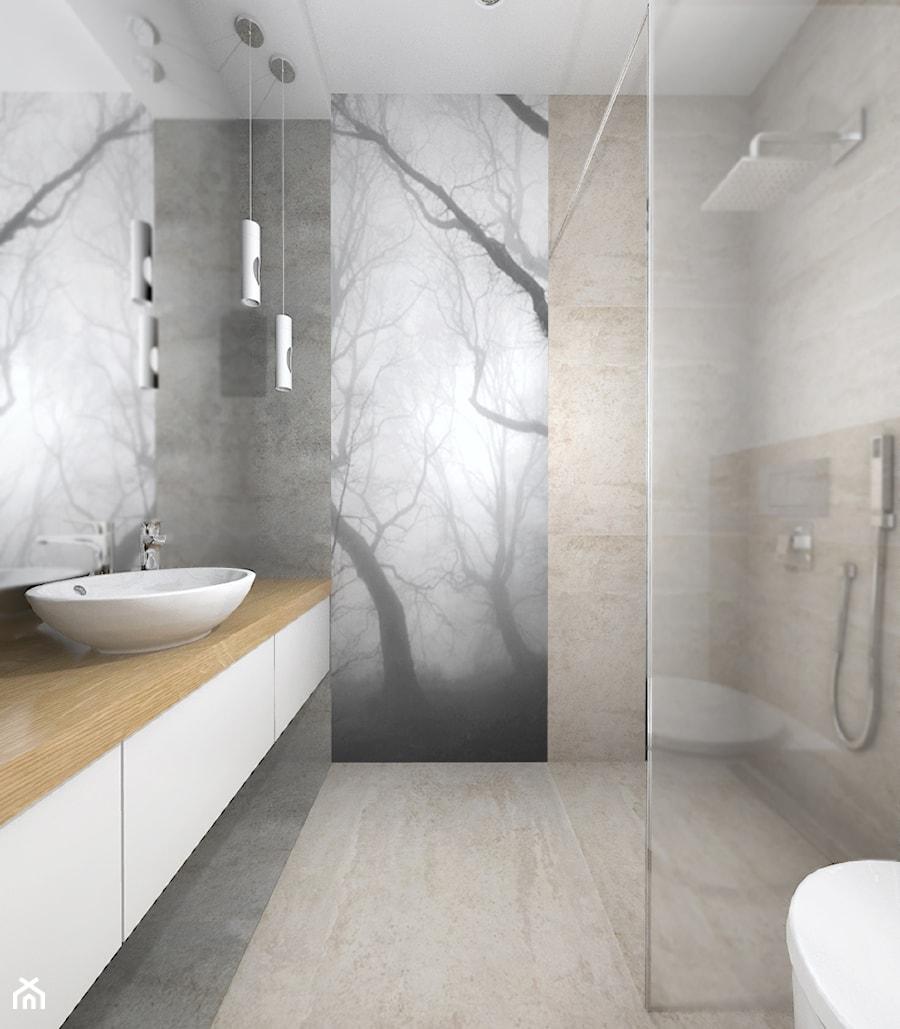 Widok Na Kabinę Prysznicową I Nadruk Na Szkle Zdjęcie Od