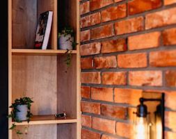 Detal z mnałym regałem na książki i oświetleniem w loftowym stylu - zdjęcie od Wnętrzowe Love - Homebook